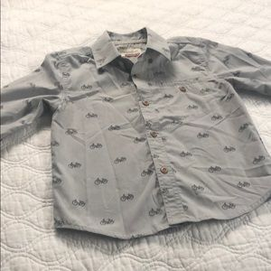 Toddler boys grey motorcycle button up